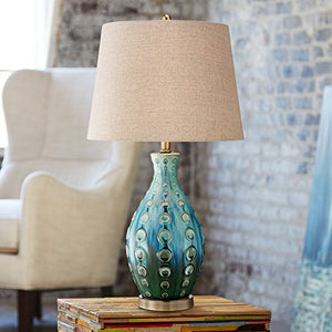 Mid-Century Teal Textured Hand Laid Glaze Ceramic Vase Teal Table Lamp Home Decor Accent