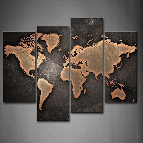 World Map Fat  Globe Black Background Wall Art Painting Print Stretched Canvas Wall Ready