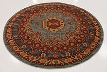 Traditional Floral Serapi Collection Design, Light Blue 6' FT Round Area Rug Home Accent