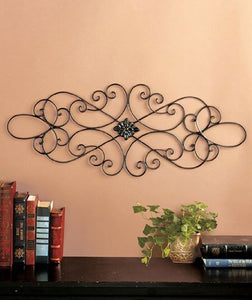 Black Wrought Iron Scrolled Metal Wall Art Medallion Plaque Oblong Home Decor Accent