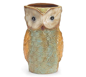 "Cute Owl Shaped Vases, Hand Painted, Ceramic, 9"" Tall Scalloped Display Homed Accent"