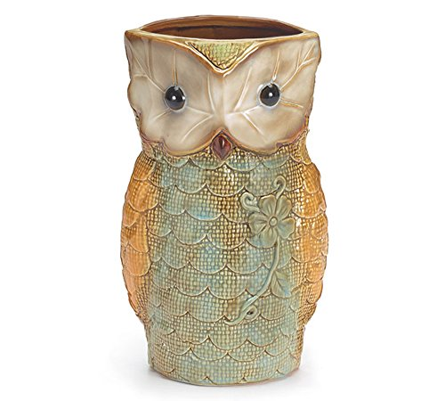 Cute Owl Shaped Vases, Hand Painted, Ceramic, 9
