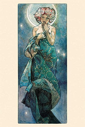 The Moon by Alphonse Mucha 36x24 Art Print Poster Art Nouveau Period famous painting Illustration Art Nouveau Mystical
