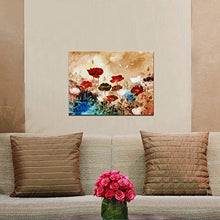 Blooming Poppies Floral  Flowers Modern Stretched Canvas Framed Wall Ready 16x12inc