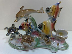 Ocean  Dolphins Fishes Feng Shui  Hand Crafted Art Glass Multi Color Home Decor Accent