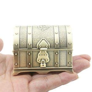 Retro Vintage Metal Treasure Chest Trinket Jewelry Small  Box Gift Box Ring Embossed Home Accent