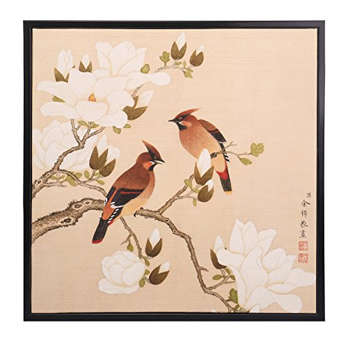 Watercolor Colored Ink Magnolia Floral Birds Flowers Wall Art Feng Shui Home Decor Accent