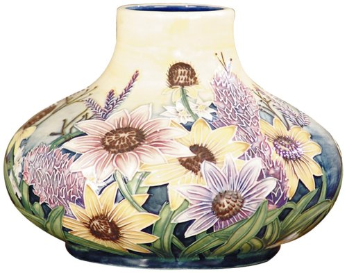 Dale Tiffany English Garden Floral Ceramic Gourd Vase Flower Hand Painted Translucent Decor Accent