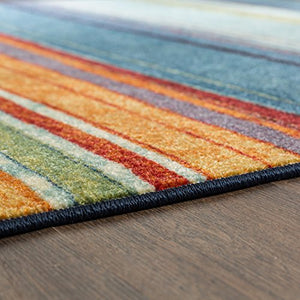 Mohawk Home New Wave Rainbow Rug Superior Modern Contemporary Easy Care Unique Durable 100% Poly  Superior Quality Durable Home Decor Gift