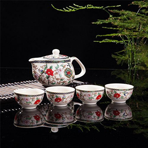 Exquisite 5 PCS Jingdezhen  porcelain Flower Birds Design Ceramic Tea Pot Cups Home Decor Accent