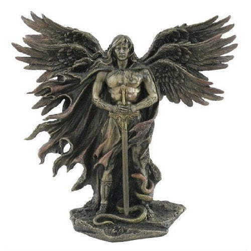 Winged Guardian Angel Sword and Serpent Bronze Statue Fantasy Accent