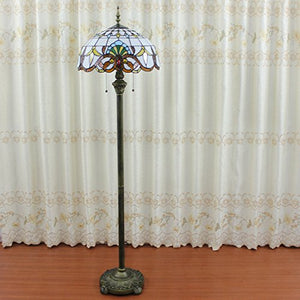 European Baroque Classical Tiffany Style Floral Stained Glass  Floor Lamp