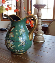 Earthen Ware Tole Painted Ceramic Decorative Beautiful Vintage Green Curved Pitcher or Vase