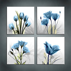 Elegant Tulip Flower Canvas Print Wall Art Painting 4 Panel Flower Floral Wall Art Home Accent