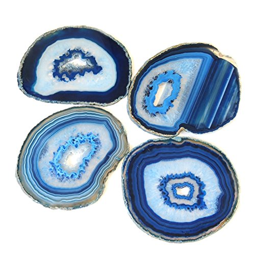 Natural Blue Agate Polished Gem Stone Coaster Rubber Bumper Set of 4 Unique Beauty Candle Holder