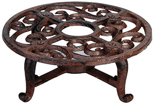 Esschert Design USA Aged Finish Cast Iron Teapot Warmer Plant Stand Home Decor Accent Classical
