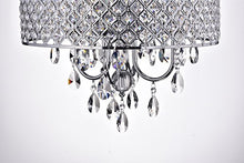 Drum Shade Chrome Finish  4-Light Crystal Chandelier Ceiling Fixture, Round Home Decor
