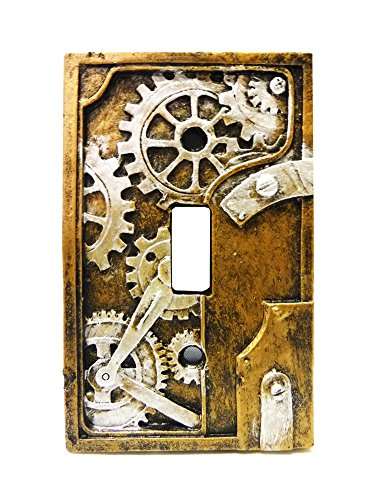 Steampunk Light Switch Plate Cover  Bronze Unique Fantasy Accent Gears
