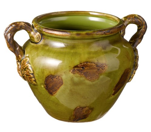 High Gloss Ceramic Grasslands Road Nature Theme Floral Vine Handle Vase 5