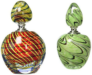 Dale Tiffany Swirl Red Green Art Glass  Perfume Bottle Set Hand Blown Vase Home Decor Accent Sale