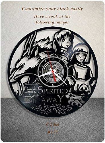 Spirited Away vinyl clock, vinyl wall clock, walt disney vinyl record clock studio ghibli toho anime fantasy best animated film wall art home decor kids gift 177 - (c2)