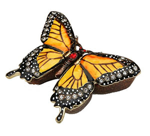 Monarch Butterfly Design Figurine Keepsake Swarovski Crystal Hinged Trinket Pill Box Home Accent