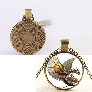 Steampunk Dragon Photo Cabochon Glass Pendant Bronze