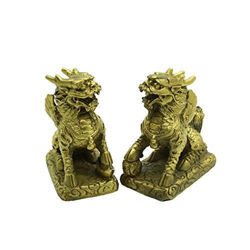 Chi Lin Copper Bronze Collectable Fu Dogs Figurine Sculpture Statue Feng Shui Home Decor Accent