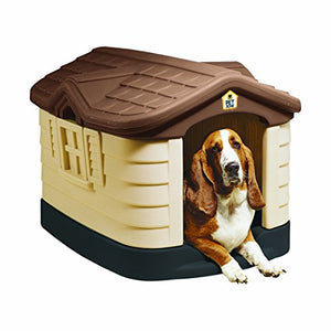 Durable Dog House Pet Zone Cozy Save Comfy Cottage Plastic Dog House  Patio Lawm
