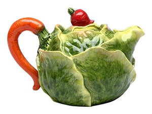 Fun Cute Porcelain Cabbage Teapot Red Radish Knob Lid Handle Home Decor Accent