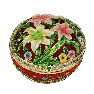 Water Lilly Pond Box Swarovski Crystals  Flowered Pill Box Trinket Keepsake Round Home Accent