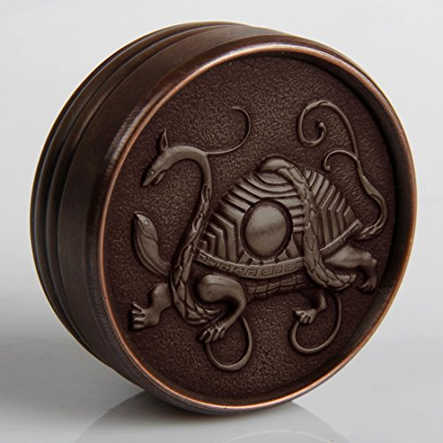 Chinese Vintage Metal Brass Finish Dome Embossed Lid Paper Clip Holder Home Decor Accent Feng Shui