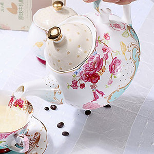 Tea Pot Bone China Vintage Royal Pattern Style Red Floral Flowers Roses Shabby Chic Home Accent