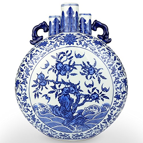 Jingdezhen Blue White Porcelain Vase, Chinese Ceramic Vases Decor Jar Handles Home Accent