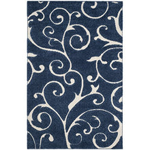 "Safavieh Shag Collection Scrolling Vine Dark Blue and Cream Graceful Swirl Area Rug (5'3"" x 7'6"") Easy Care Unique Quality Home Decor Accent"