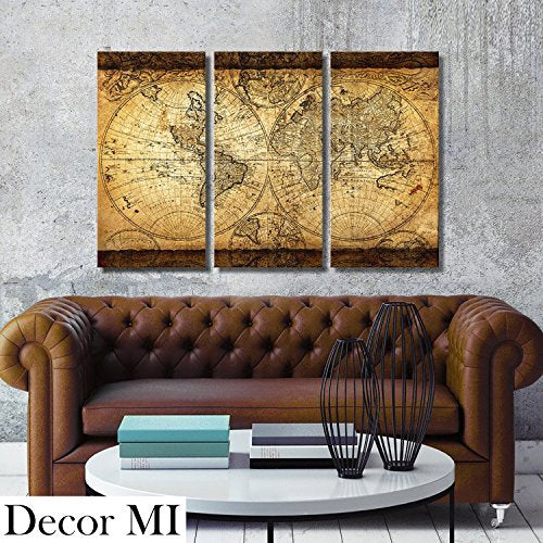 Vintage World Map Canvas Wall Art Prints Stretched Framed Ready to Hang Artwork 3 PiecveWall Decor