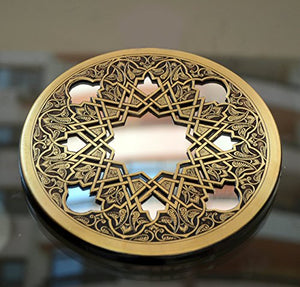 Exotic Moroccan Copper Geometric Deign Frame Round Mirror Accent