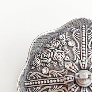 Pewter Tone Crown Ornate Floral Design Keepsake Antique Vintage Classic Treasure Home Accent