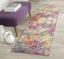 Safavieh Monaco Collection Modern Abstract Contemporary Multi Color Watercolor Pink Distressed Area Rug Modern Durable Easy Care Home Decor Accent