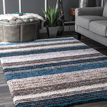 Hand Tufted Shag Area Rug Aqua Beige Stripped individual Horizon Design Durable Easy Care Modern Unique Superior Quality Home Decor Accent