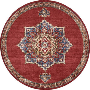Traditional Persian Vintage Inspired  Design Fancy Terracotta Round Area Rug Red Gold Decor Accent