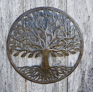"Recycled Metal Steel Drum Organic Tree of Life Wall Art Hand Crafted  from Haiti , 23"" X 23"""
