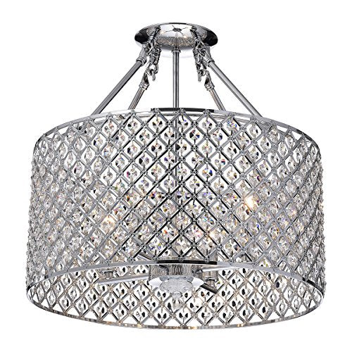 Marya 4 Light Drum Semi Flush Mount Crystal Chandelier Chrome Finish, Round Home Decor