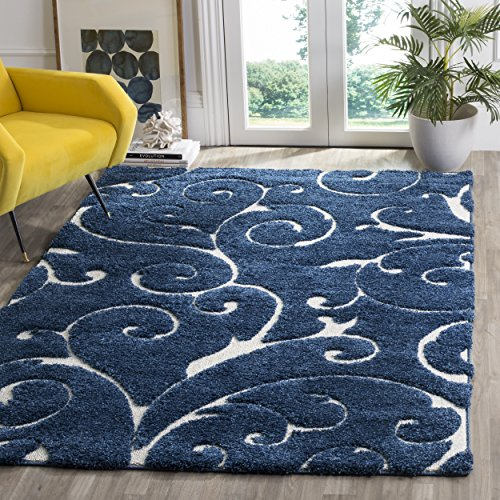 Safavieh Shag Collection Scrolling Vine Dark Blue and Cream Graceful Swirl Area Rug (5'3