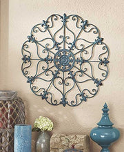 "Iron Wall Medallion  Authentic Wall Art Distressed Finish 16"" Dia Medallion Home Decor Accent"