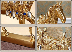 Golden Walking Horse Statue  Wealth Home Attract Wealth  Luck,Feng Shui Decor Bronze Brass Accent