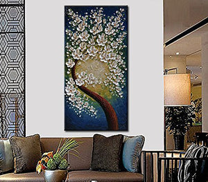 White Flowers Hand Painted Art Modern Abstract  White  Green Blue Artwork Floral Home Decor Accent