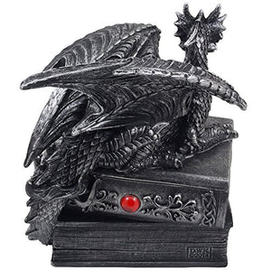 Guardian Dragon Mythical Trinket Box Hidden Book Fantasy Accent