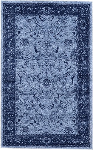 Modern Traditional Turkish  Floral Design- Blue, 5' x 8'-Feet St. Albany Collection Area Rug