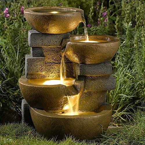 Tiered Pots Zen Water Fountain LED Light Garden Patio Home Accent